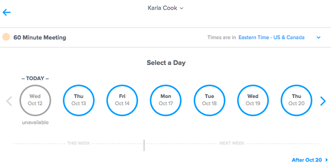 calendly time and day selection screen